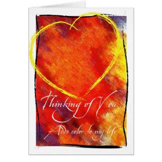Pensamiento en usted tarjeta del corazón del extra