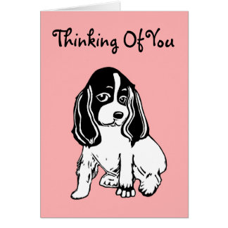 Pensamiento en usted tarjeta del rosa del perrito