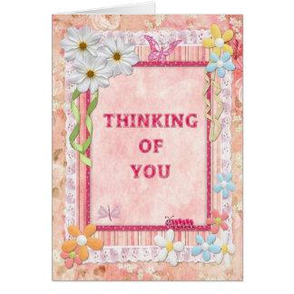 Pensamiento en usted tarjeta scrapbooking del arte