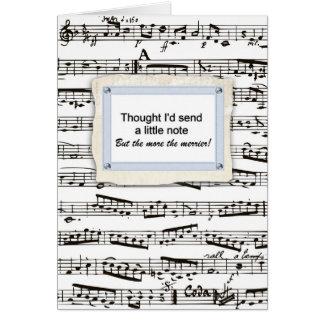 Pensamiento en usted y envío de una nota musical o tarjeta de felicitación