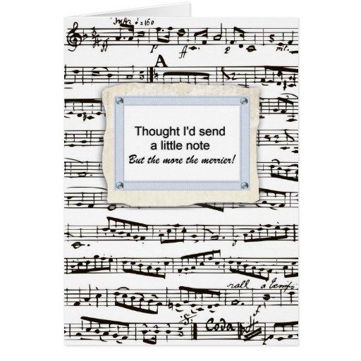 Pensamiento en usted y envío de una nota musical o felicitaciones