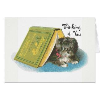 Pensamiento en usted - Yorkshire Terrier lindo Tarjeta Pequeña
