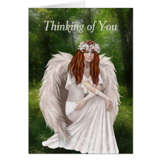 Pensamiento moderno en usted con ángel blanco tarjeta de felicitación