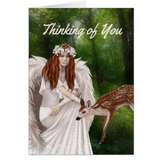 Pensamiento moderno en usted tarjeta con ángel