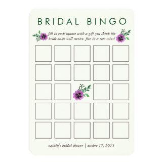 Pensamiento púrpura nupcial de la tarjeta de juego invitación 12,7 x 17,8 cm