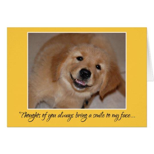 Pensamientos de usted… perrito sonriente del tarjeta de felicitación