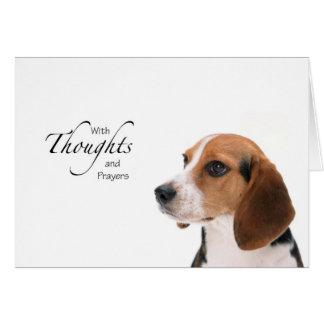 Pensamientos y rezos del perro tarjeta de felicitación
