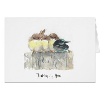 Pensando en usted - cuatro pequeños pájaros, 1 se tarjeta de felicitación