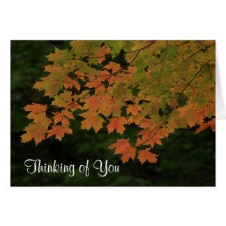 """""""Pensando en usted"""" hojas de la caída Tarjeta De Felicitación"""