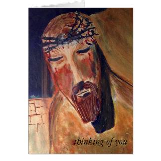 Pensando en usted tarjeta, sobre blanco tarjeta de felicitación