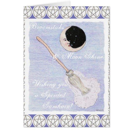 Pentáculo enérgico de Samhain de la luna y de la Tarjeta De Felicitación