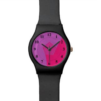 Pentágono espiral en rosa y violeta reloj de mano