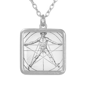 Pentagram_and_human_body_ (Agrippa) Collar Plateado