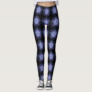 Pentagram azul del fuego de la brujería leggings