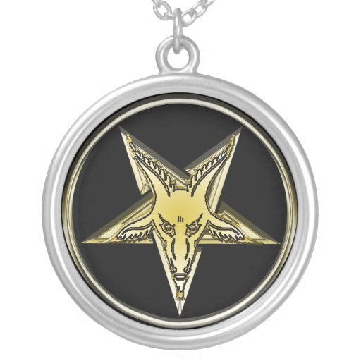 Pentagram de oro invertido de la cabeza de la cabr grímpola