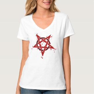 Pentagram manchado satánico rojo camiseta