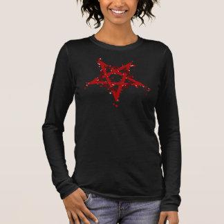 Pentagram manchado satánico rojo camiseta de manga larga