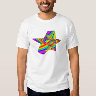 Pentagram tridimensional del arco iris camiseta