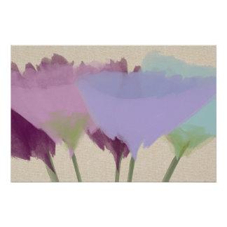 Peonies abstractos de la acuarela en el poster del
