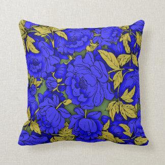 Peonies azules cojín decorativo