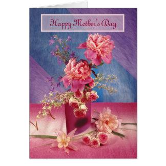 Peonies felices del día de madre tarjeta de felicitación