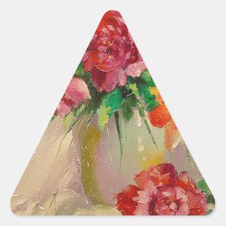 Peonies Pegatina Triangular
