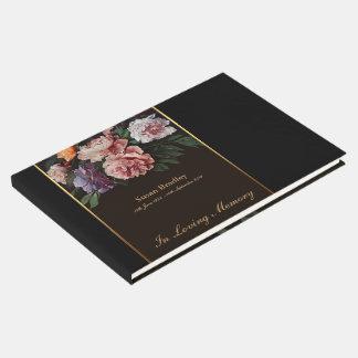 Peonies que pintan el libro de visitas fúnebre