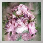 Peonies rosados en el florero del Peony - poster/i