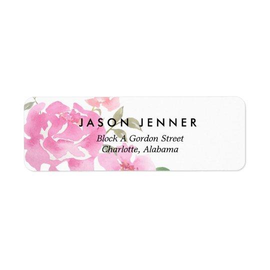 Peonies rosados florales de la acuarela que casan etiquetas de remite
