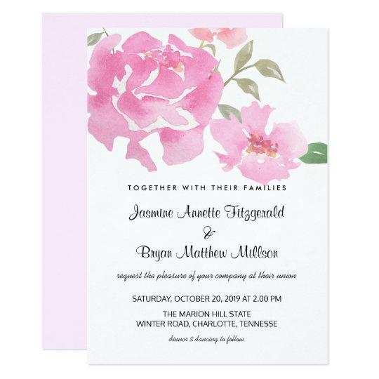 Peonies rosados florales de la acuarela que casan invitación 12,7 x 17,8 cm
