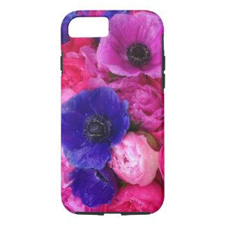 Peonies rosados y púrpuras y caja floral del funda iPhone 7