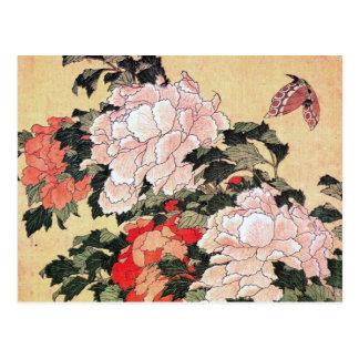 Peonies y mariposa Hokusai Postal