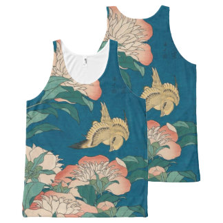 Peonies y vintage amarillo GalleryHD de Hokusai Camiseta De Tirantes Con Estampado Integral