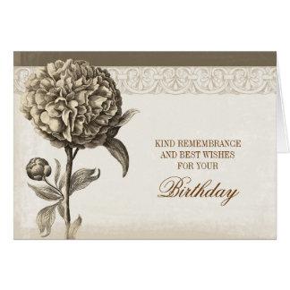 peony de los saludos del cumpleaños del vintage tarjeta pequeña