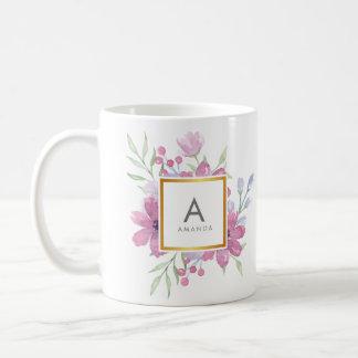 Peony DE MODA femenino de la acuarela y monograma Taza De Café