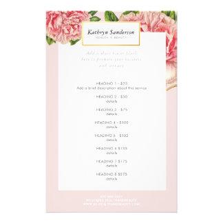 Peony del rosa del vintage de la LISTA del Flyer