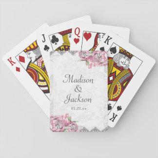 Peony elegante romántico floral y favor del boda barajas de cartas