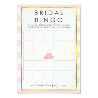 Peony rosado nupcial de la raya de la tarjeta de invitación 12,7 x 17,8 cm