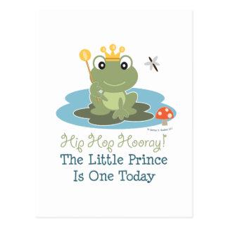 Pequeña 1ra postal del cumpleaños de príncipe Frog