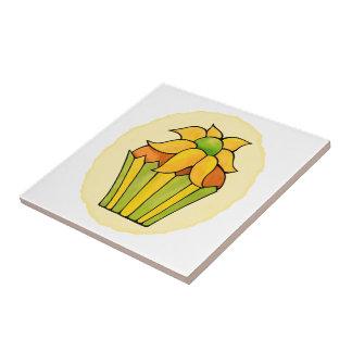 Pequeña baldosa cerámica de la flor amarilla azulejo cuadrado pequeño
