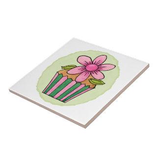 Pequeña baldosa cerámica de la margarita rosada azulejo cuadrado pequeño
