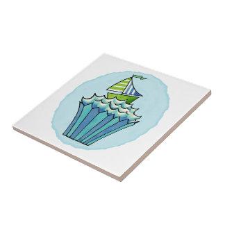 Pequeña baldosa cerámica del barco azul peculiar azulejo cuadrado pequeño