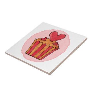 Pequeña baldosa cerámica del corazón rojo peculiar azulejo cuadrado pequeño