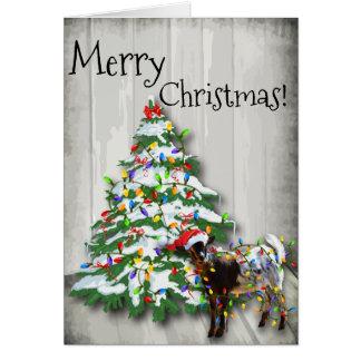 Pequeña cabra divertida del navidad tarjeta de felicitación
