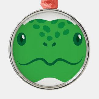 pequeña cara linda de la tortuga de la tortuga adorno navideño redondo de metal