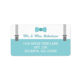 Pequeña etiqueta, aguamarina y gris del remite del etiquetas de dirección