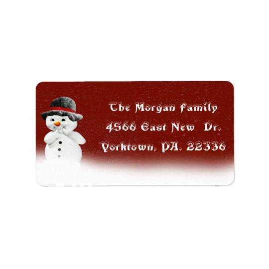 Pequeña etiqueta de dirección del muñeco de nieve