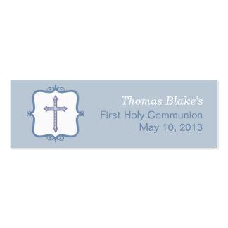 Pequeña etiqueta de la comunión cruzada azul tarjetas de visita mini