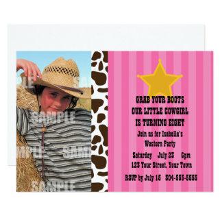 Pequeña fiesta de cumpleaños de la vaquera invitación 12,7 x 17,8 cm