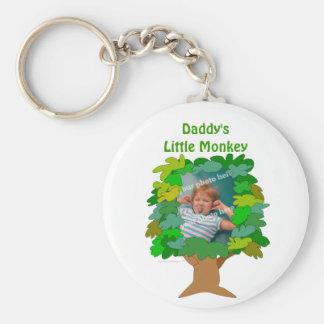 Pequeña foto del personalizado del mono del árbol llavero redondo tipo chapa